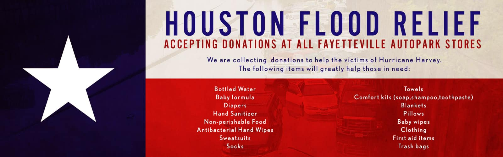 Houston Flood Relief Donations Banner