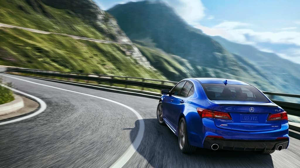 2018 Acura TLX rear view blue exterior