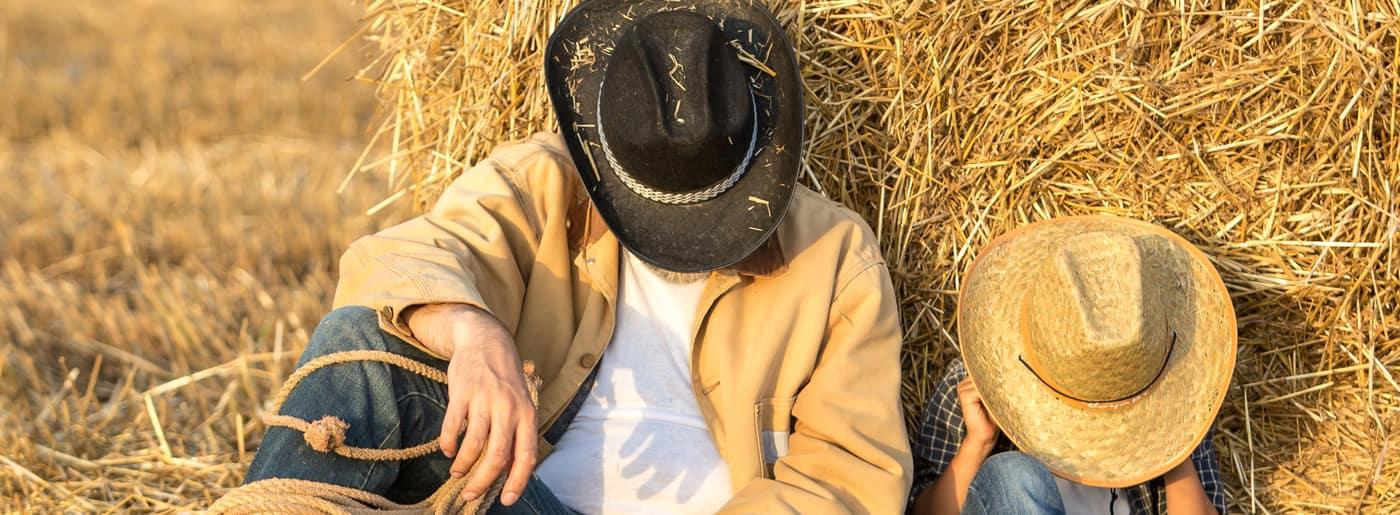 cowboy dad and son
