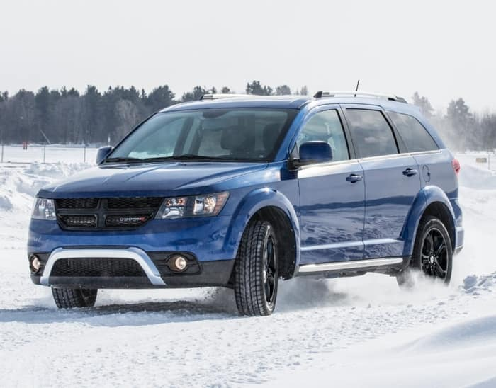 2020 Blue Dodge Journey in Snow