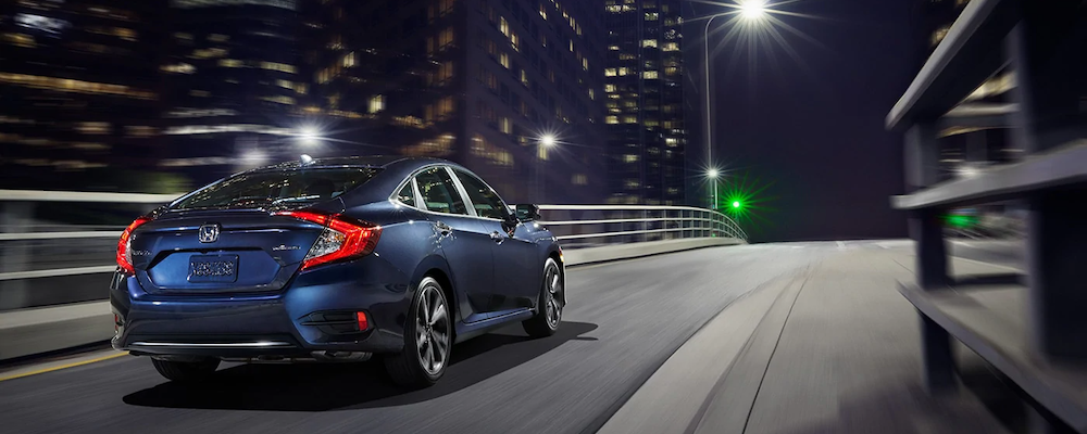 2020 Honda Civic on the highway at night