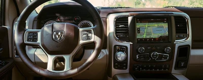 2018 RAM 1500 interior steering wheel and screen