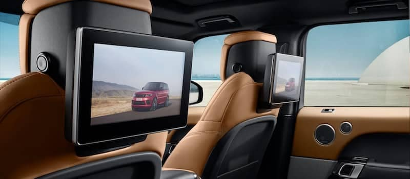 2019 Land Rover Range Rover Sport seat-mounted articulating HD touchscreens (European model shown)