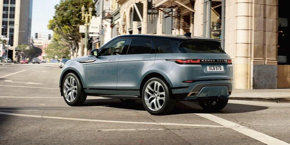 Light Blue 2020 Range Rover Evoque Turning Corner