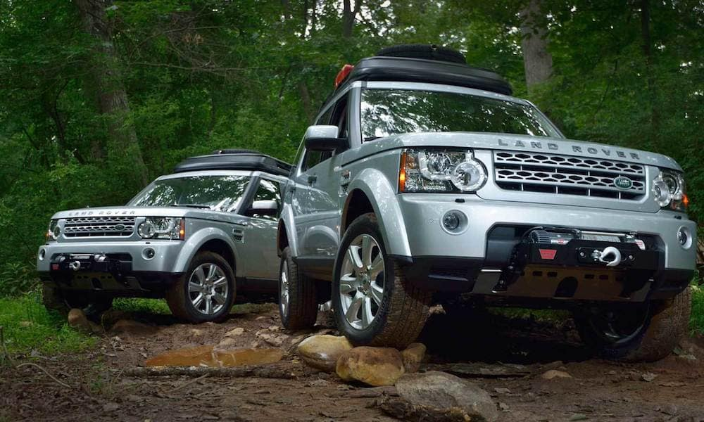 Land Rover Models in Forest