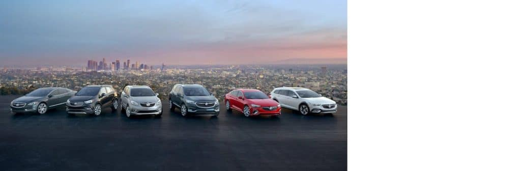 Full Buick lineup with city background