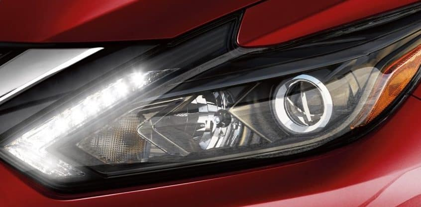 Close up of Altima headlight