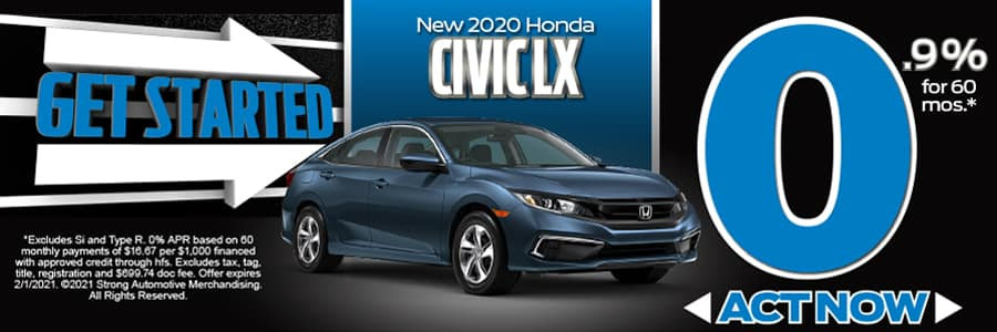 2020 CIVIC LX 0.9% APR FOR 60 MONTHS* Act Now!