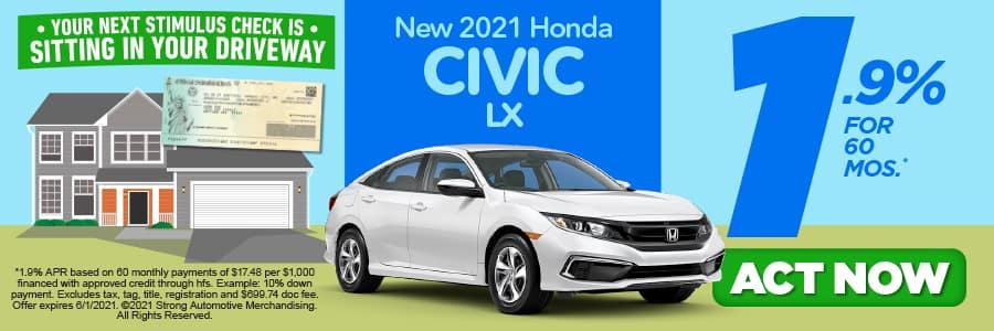 NEW 2021 CIVIC LX 1.9% APR/ 60 MONTHS