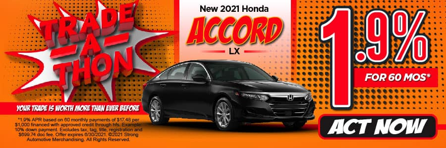 New 2021 Honda Accord - 1.9% APR for 60 months - Act Now