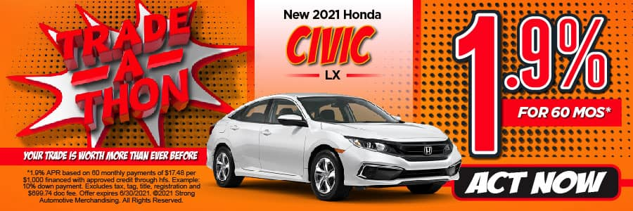 NEW 2021 CIVIC LX 1.9% APR for 60 MONTHS