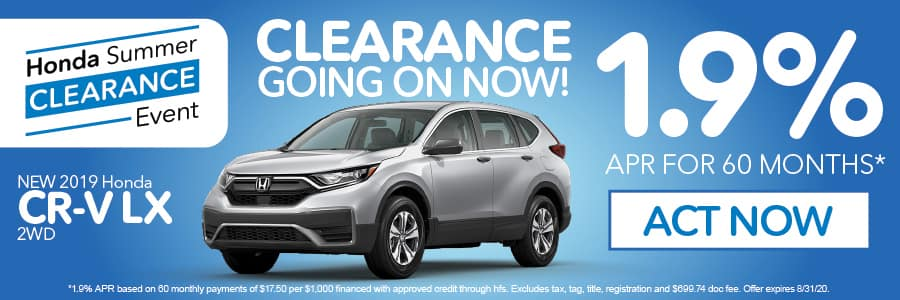 2019 Honda CR-V LX 1.9% apr for 60 months | Act Now