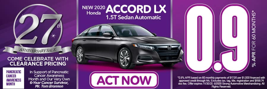 2020 Accord LX 1.5T Sedan Automatic 0.9% APR for 60 months