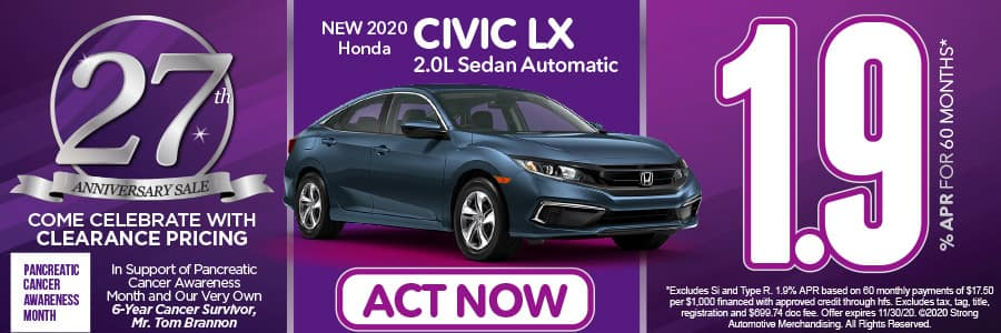 2020 Civic LX 2.0L SEDAN AUTOMATIC 1.9% APR for 60 months