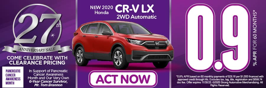 2020 CR V LX 2WD 0.9% APR for 60 months