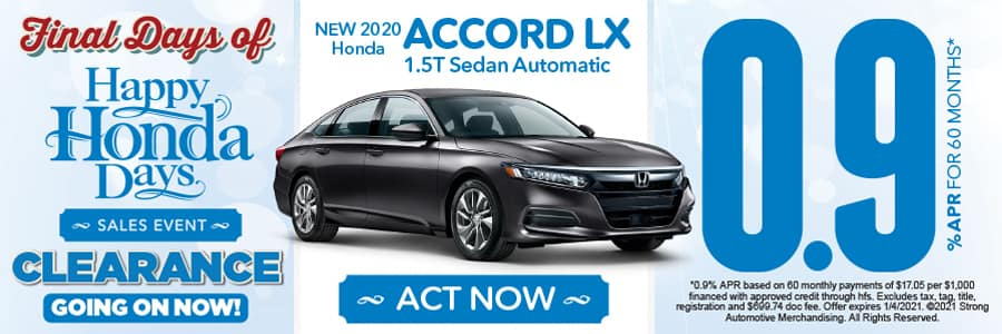 NEW 2020 Honda ACCORD LX 1.5T Sedan Automatic 0.9% APR FOR 60 MONTHS - ACT NOW