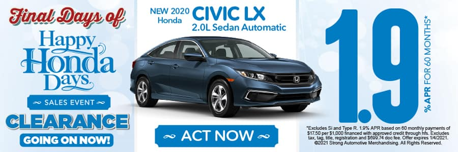 NEW 2020 Honda CIVIC LX 2.0L Sedan Automatic 1.9 % APR FOR 60 MONTHS - ACT NOW
