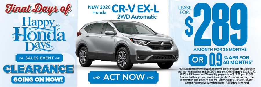 NEW 2020 HONDA CR-V EX-L 2WD LEASE FOR $289 A MONTH FOR 36 MONTHS OR 0.9% APR FOR 60 MONTHS - ACT NOW