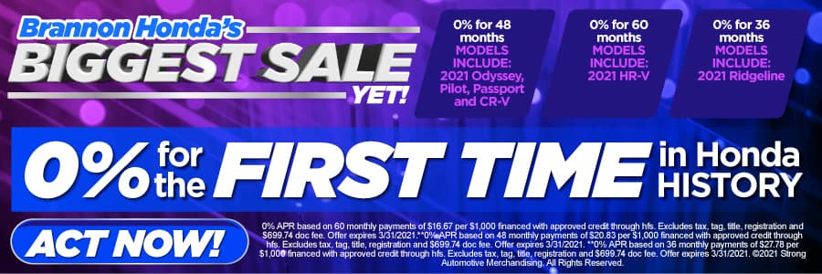 0% APR for the first time in Honda history on select models - Act Now
