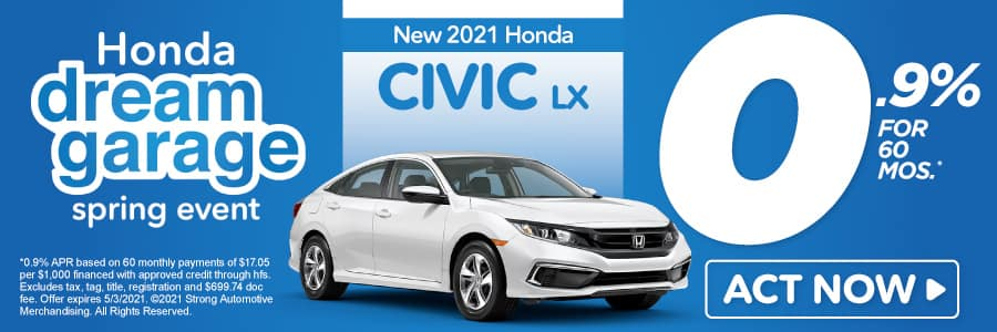 New 2020 Honda Civic - 0.9% APR for 60 months - Act Now