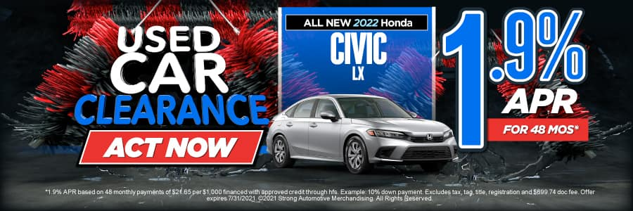 NEW 2021 CIVIC LX 1.9% APR for 48 MONTHS