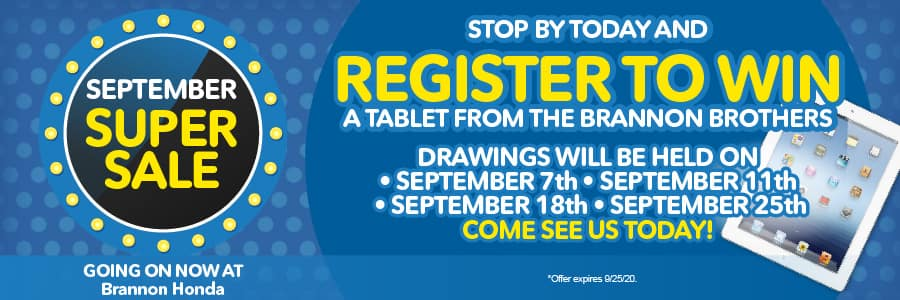 register to win a tablet from the Brannon Brothers - come see us today