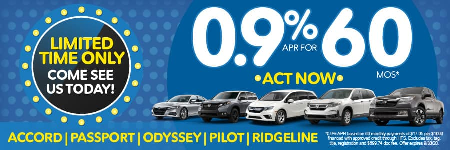 0.9% APR for 60 months - click here to view inventory