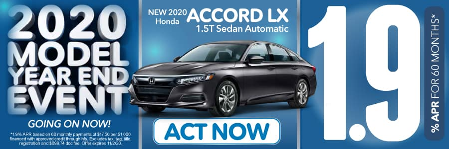 2020 Honda ACCORD LX 1.9% for 60 months | Act Now
