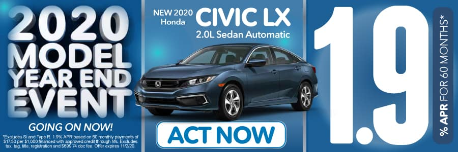 2020 Honda CIVIC LX 1.9% for 60 months | Act Now