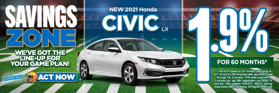 New 2021 Honda Civic - 1.9% APR for 60 months - Act Now
