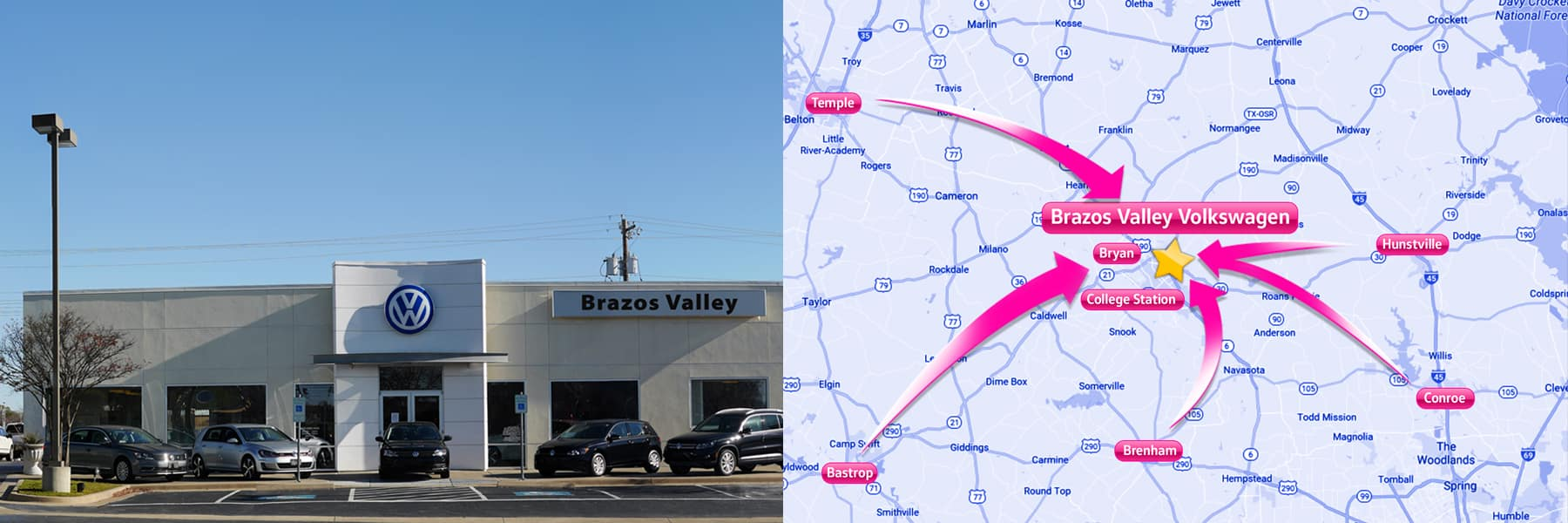 Brazos Valley Volkswagen Map