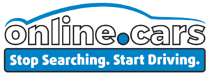 The Online.cars car logo with the text Stop Searching. Start Driving.
