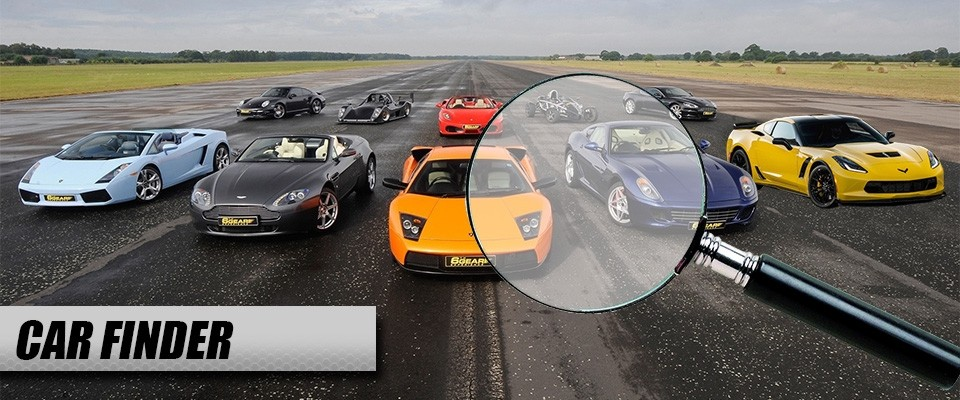 "A magnifying glass over multiple cars on an airstrip. The text ""car finder"" in the bottom left corner"