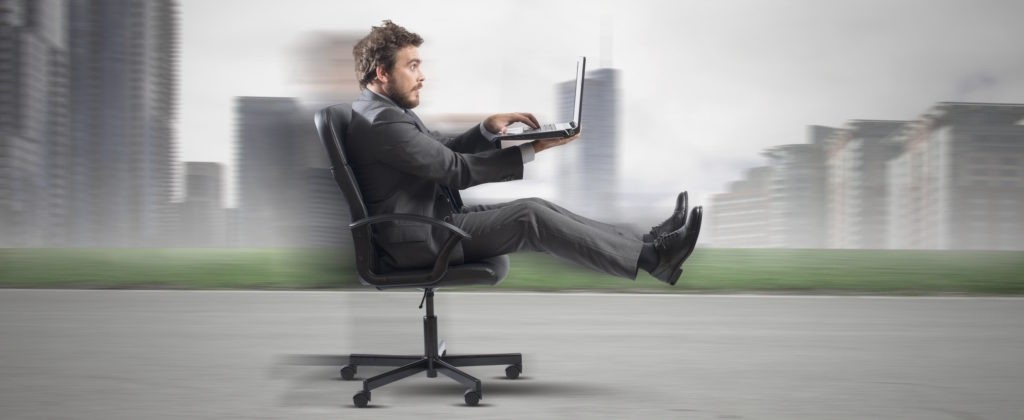 Concept of fast business with businessman on the road