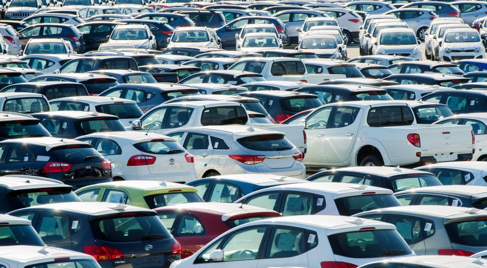 Many used cars on a lot