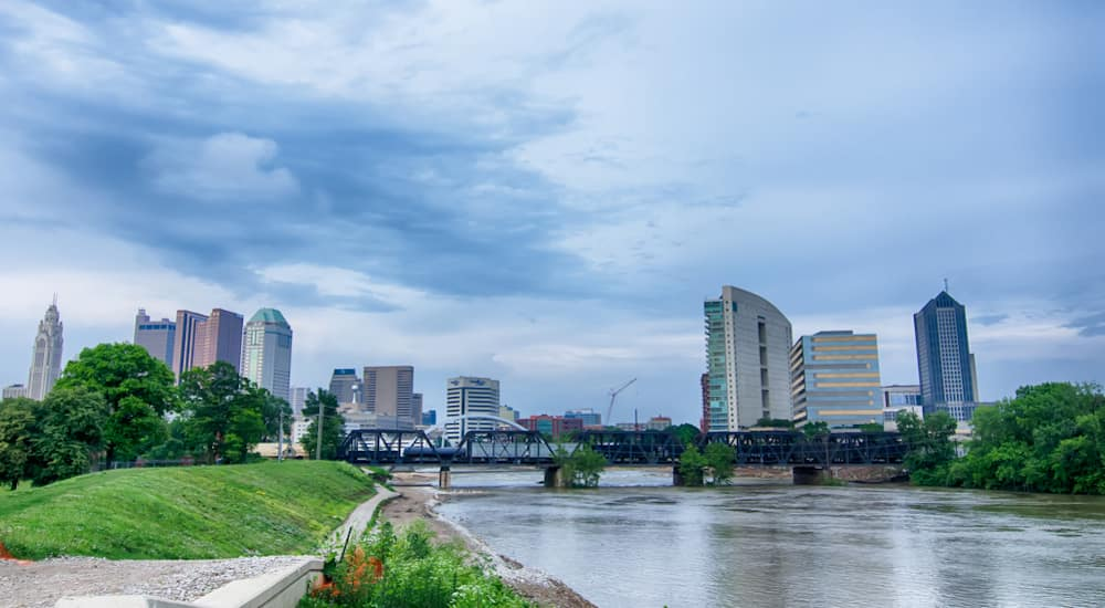The Columbus Ohio skyline on a cloudy day