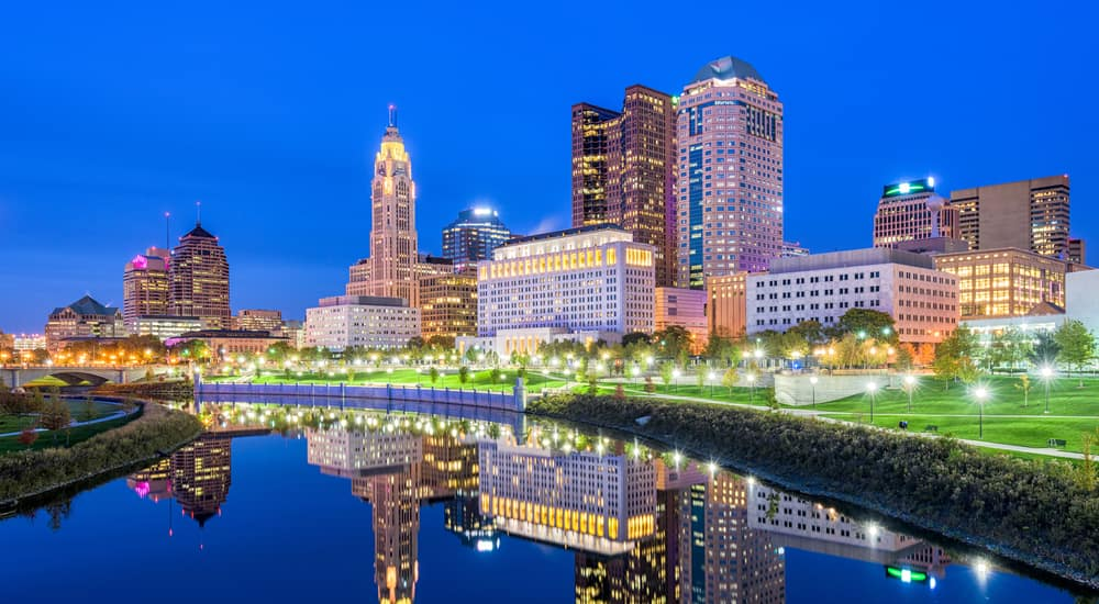 The Columbus Ohio skyline at night