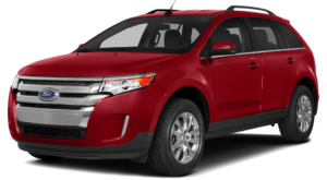 Red 2014 Ford Edge Model angled left