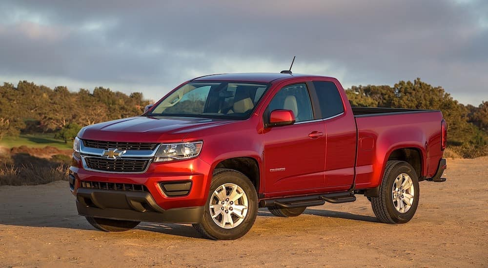 A used red 2015 Chevy Colorado in the desert