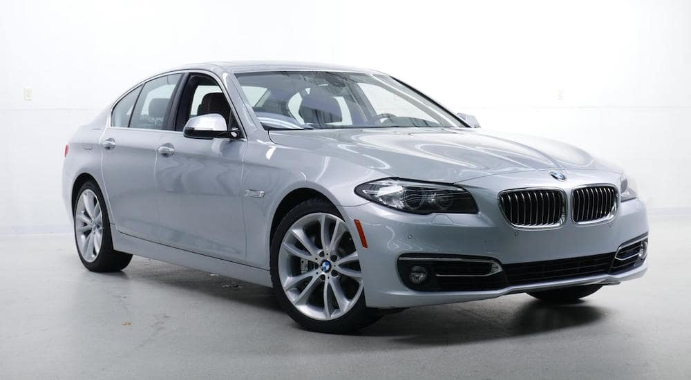 A silver 2015 BMW 5 series sedan from an online used car dealer Columbus Ohio