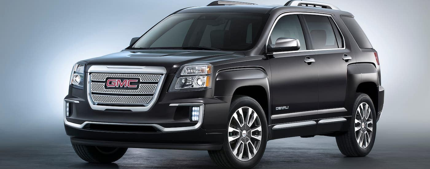 A black 2016 GMC Terrain Denali, one of the popular used SUVs for sale in Indianapolis, IL, is displayed.