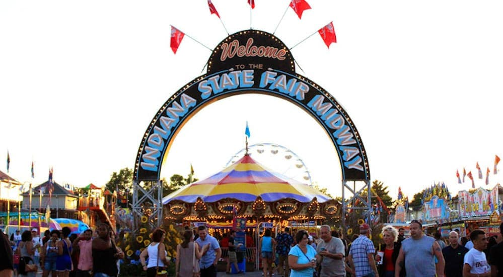 The Indiana State Fair in inIndianapolis' entrance is shown.