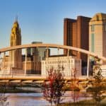 The skyline of Columbus, OH is shown. An auto loan with bad credit in Columbus are an options for some drivers.