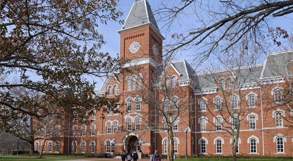 A brick building at Ohio State University is shown.