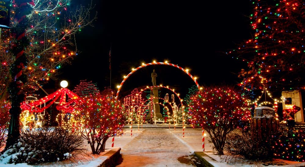 A Christmas lights display near Indianapolis, IN is shown.