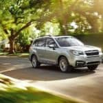 A silver 2017 Subaru Forester is driving on a sunny, tree-lined street.