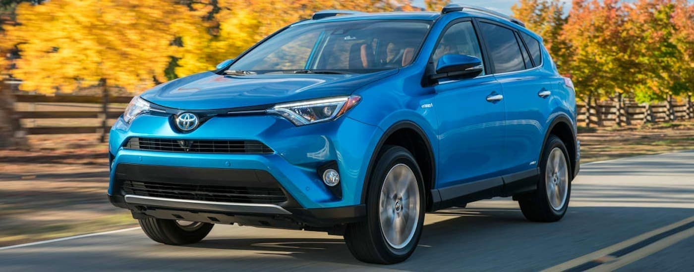 A blue 2016 Toyota RAV4 is driving on a street lined with orange trees.