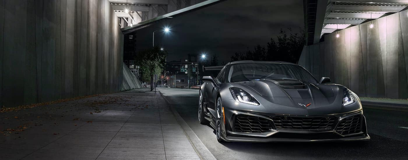 A grey 2019 Chevy Corvette ZR1 is shown parked in a tunnel.