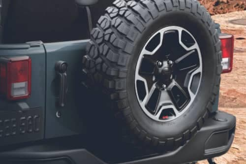 Spare tire on back of Jeep Wrangler