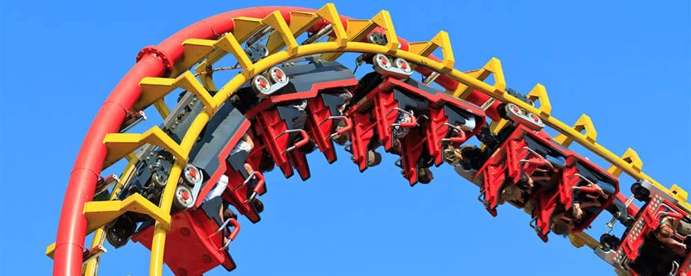 Rollercoaster on a blue sky